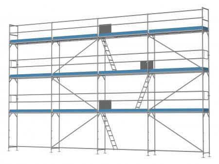 Traufseitengerüst 96 m² - 3,0 m Felder - 12 m lang - 8 m Arbeitshöhe