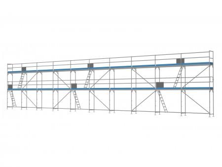 Traufseitengerüst 150 m² - 2,5 m Felder - 25 m lang - 6 m Arbeitshöhe