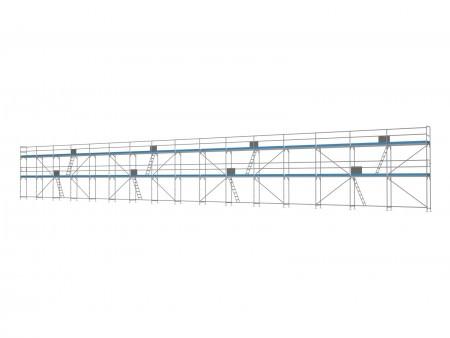 Traufseitengerüst 240 m² - 2,5 m Felder - 40 m lang - 6 m Arbeitshöhe
