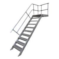 Treppe mit Podest, einseitigem Handlauf und Stahl Gitterrost-Stufen
