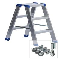 Leiterntritt 420 mm breit mit Stahlgelenken und Federdruckrollen