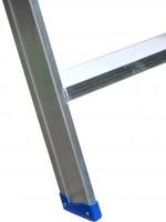 Leiterntritt 420 mm breit mit Antirutschbelag, Stahlgelenken und Federdruckrollen