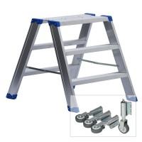 Leiterntritt 600 mm breit mit Stahlgelenken und Federdruckrollen