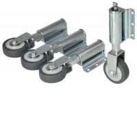 Leiterntritt 600 mm breit mit Antirutschbelag, Stahlgelenken und Federdruckrollen