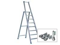 Stufenstehleiter einseitig begehbar mit Bügel, Federdruckrollen und Aussteifungsstreben
