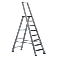Stufenstehleiter einseitig begehbar mit Bügel, Federdruckrollen, Aussteifungsstreben und Antirutschbelag