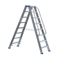 Stufenstehleiter beidseitig begehbar mit Handlauf links und rechts auf einem Leiternteil